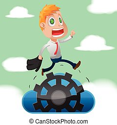Business Man Run Cloud Gear Vector