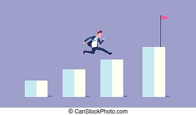 Business Man Run Financial Bar Graph Businessman Climb Growth Chart