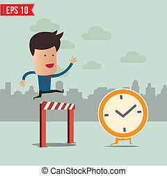 Business man run follow the clock - Vector illustration -...