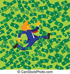 Business man run in money sheet flying