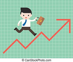 Business man run on arrow graph up ,business situation concept