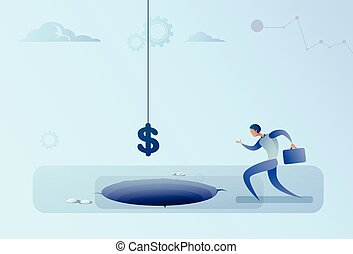 Business Man Run To Dollar Sign Falling In Hole Finance Crisis Concept