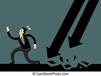 Business man running away from arrow attacks. Business concept of overcoming obstacles and challenges in the corporate world. Vector illustration.