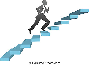 Stylized businessman runs up challenge stairs to find success