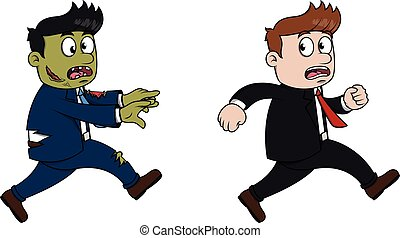 Business man running from zombie