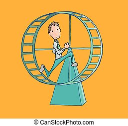 Business man running in a hamster wheel