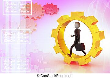 Business man running in gear wheels