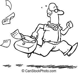 Business man running late for work - Business man / employee...