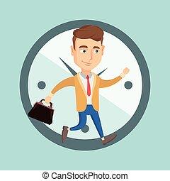 Business man running on clock background.