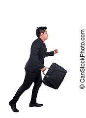 business man running on isolated white background, full length,