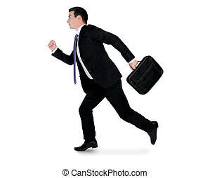 Business man running side - Isolated business man running ...
