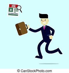 Business man running to find a job in newspaper with magnifier and holding brown bag