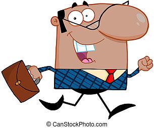 Business Man Running To Work