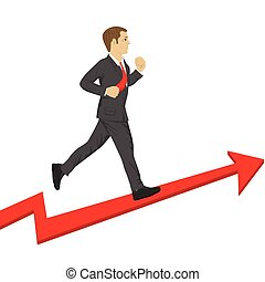 Business man running up a success arrow. Business growth concept.