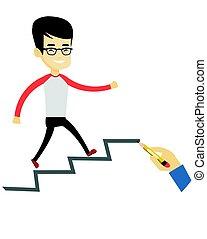 Business man running up the career ladder.