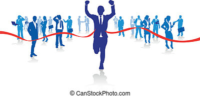 business man running - a business man running from the crowd