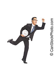 business man running with clock