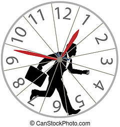 A business man races against time in the rat race as he runs in a hamster wheel clock.