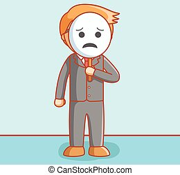 Business man sad mask