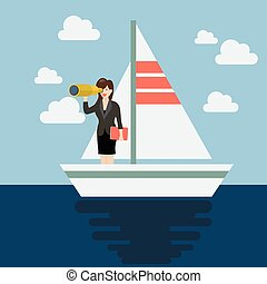 Business man sailing and looking for future. Business...