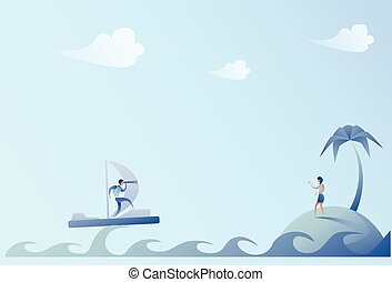 Business Man Sailing On Boat Looking With Binocular Businesswoman On Island Success Concept