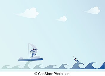 Business Man Sailing On Boat Looking With Binocular On Businessman Swimming Support Concept
