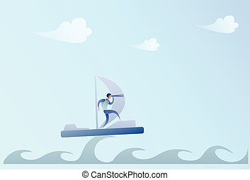 Business Man Sailing On Boat Looking With Binocular On Future Opportunity Businessman Leader Success Concept
