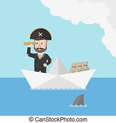 Business man sailor in papership fi
