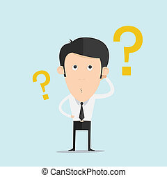 Business man scratches his head in indecision on a question mark
