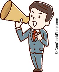 Business man screaming with a megaphone