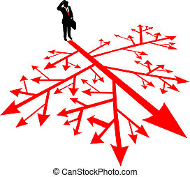 Business man search path in confusion - Person must find a...