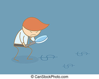 business man searching for money with magnifier cartoon character