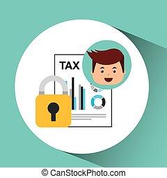 business man secure money tax megaphone