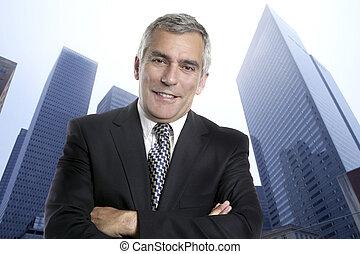 Business man senior urban city office buildings