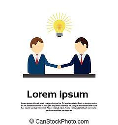 Business Man Shake Hand Concept Light Bulb New Idea