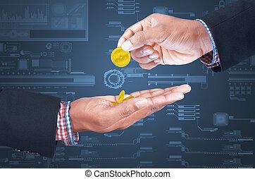 Business man sharing money