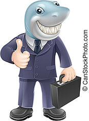 Business man shark - An illustration of a shark business man...