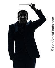 business man shielding digital tablet silhouette