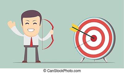 Business man shooting target