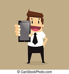Business man show smart phone