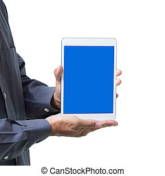 Business man show tablet with blue screen on hand, isolated on white background