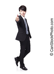 business man show thumb up in full length - young handsome...