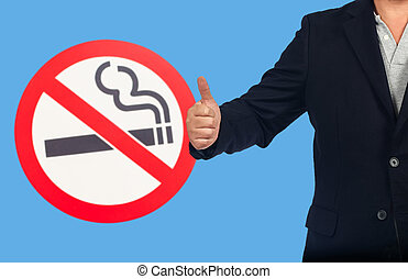 Business man show with no smoking sign ,health concept.