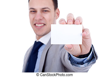 showing a blank business card