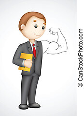 Business man showing Biceps