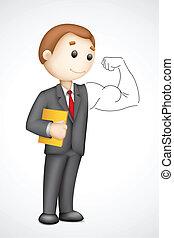 Business man showing Biceps - illustration of 3d business...