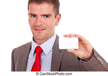 business man showing card