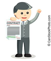 Business man showing contract