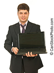 Business man showing open laptop