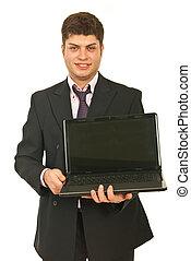 Business man showing open laptop
